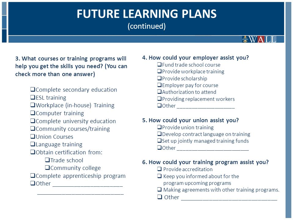 3. What courses or training programs will help you get the skills you need.
