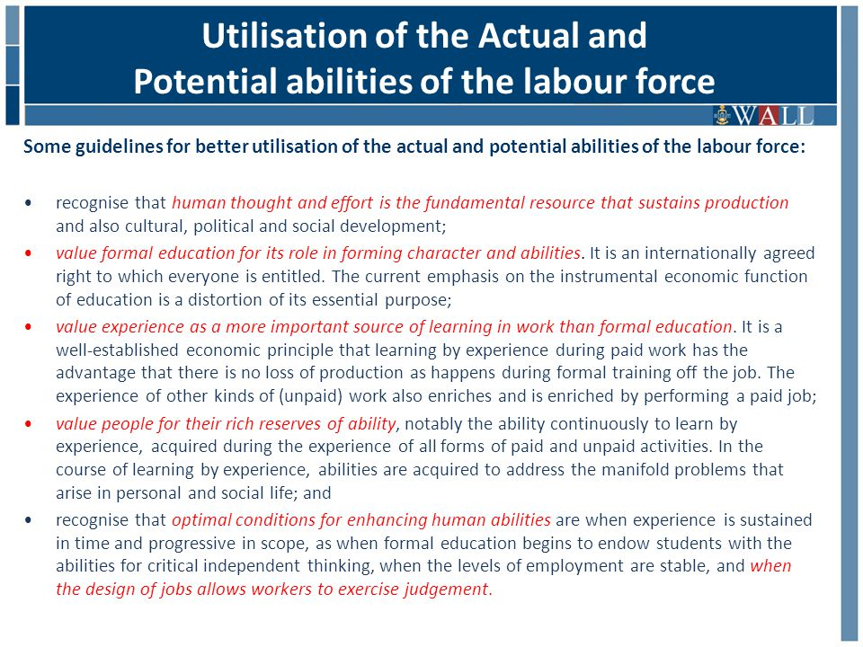 Some guidelines for better utilisation of the actual and potential abilities of the labour force: recognise that human thought and effort is the fundamental resource that sustains production and also cultural, political and social development; value formal education for its role in forming character and abilities.