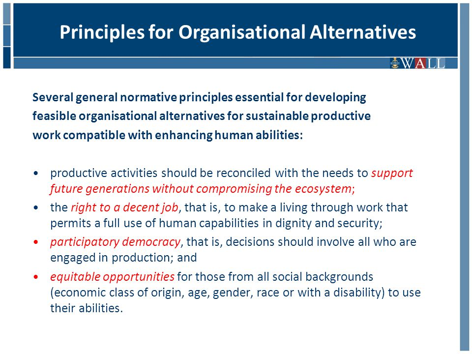 Several general normative principles essential for developing feasible organisational alternatives for sustainable productive work compatible with enhancing human abilities: productive activities should be reconciled with the needs to support future generations without compromising the ecosystem; the right to a decent job, that is, to make a living through work that permits a full use of human capabilities in dignity and security; participatory democracy, that is, decisions should involve all who are engaged in production; and equitable opportunities for those from all social backgrounds (economic class of origin, age, gender, race or with a disability) to use their abilities.
