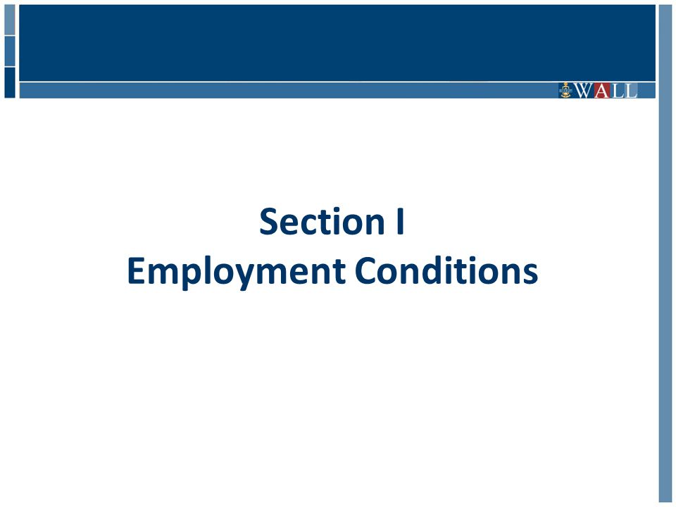 Section I Employment Conditions