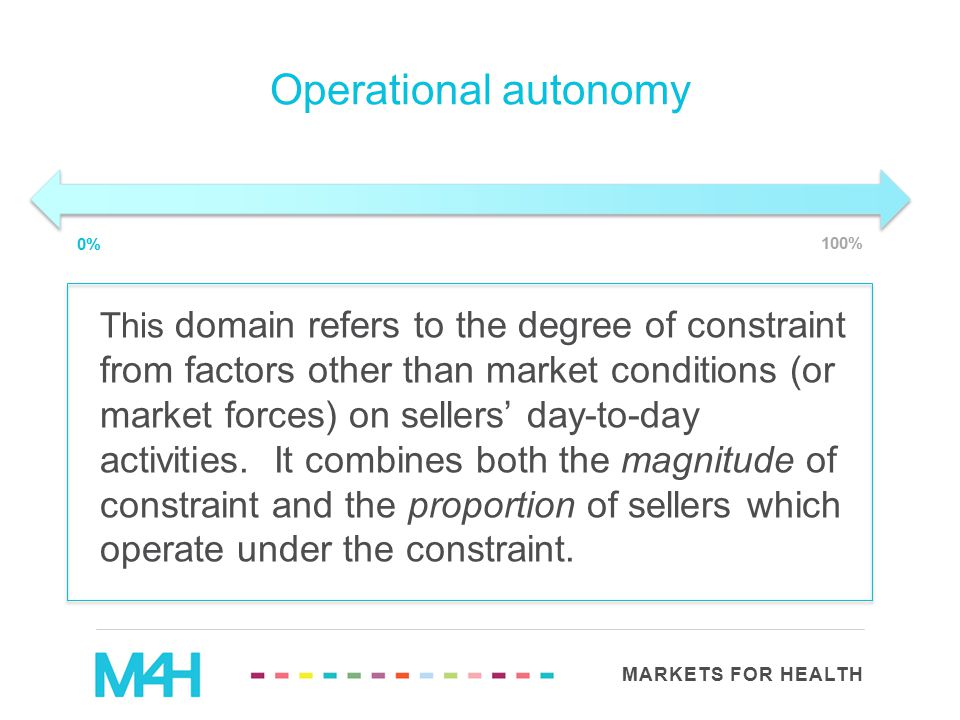MARKETS FOR HEALTH Operational autonomy This domain refers to the degree of constraint from factors other than market conditions (or market forces) on