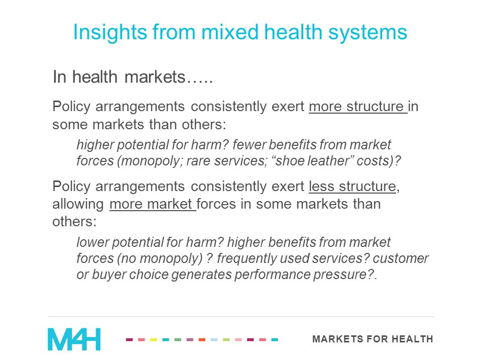 MARKETS FOR HEALTH Insights from mixed health systems In health markets….. Policy arrangements consistently exert more structure in some markets than