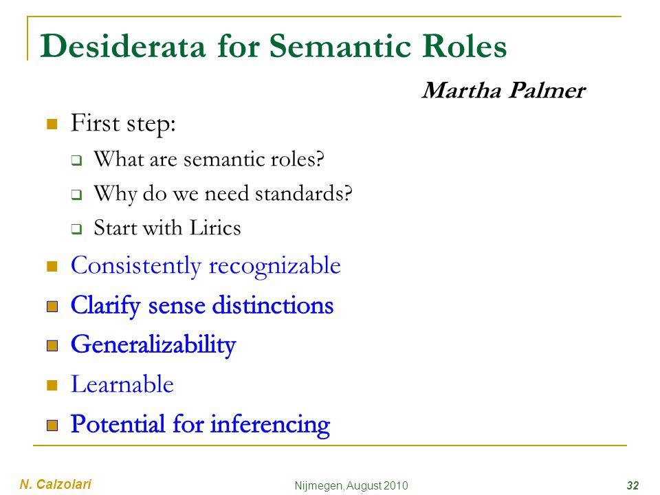 Desiderata for Semantic Roles 32Nijmegen, August 2010 Martha Palmer N. Calzolari