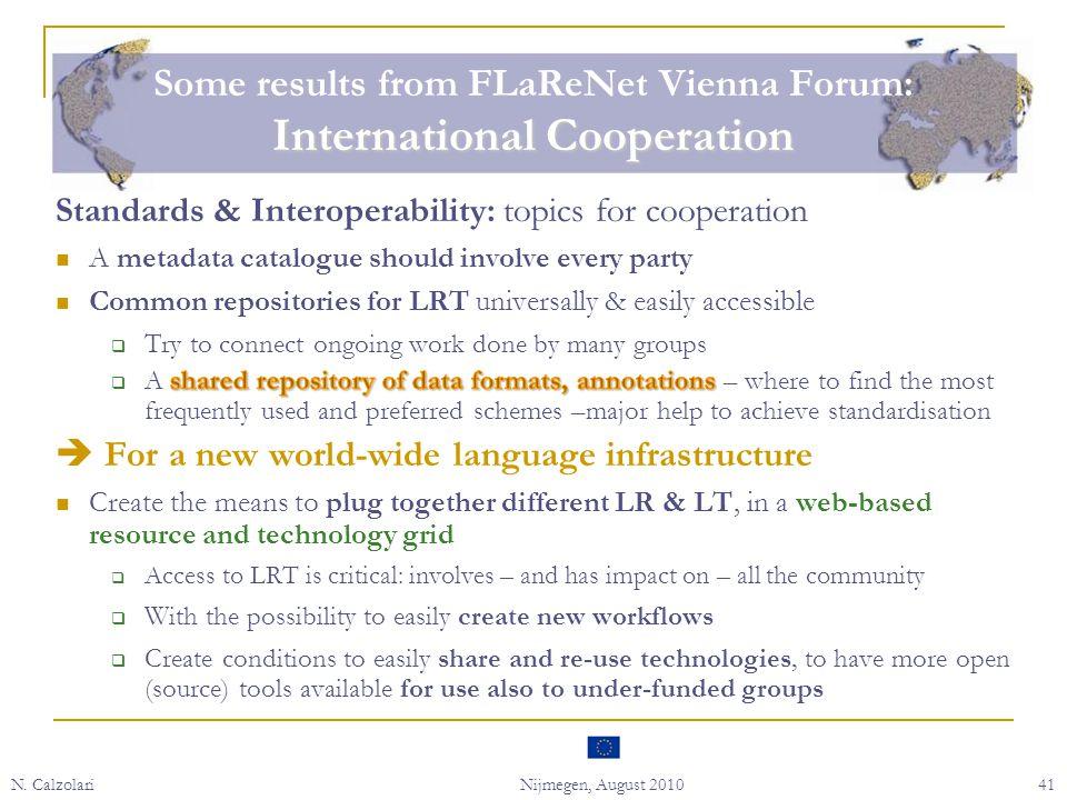 N. CalzolariNijmegen, August 201041 International Cooperation Some results from FLaReNet Vienna Forum: International Cooperation