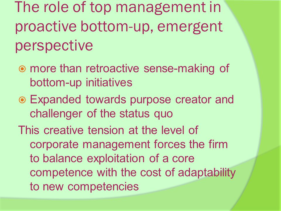 The role of top management in proactive bottom-up, emergent perspective  more than retroactive sense-making of bottom-up initiatives  Expanded towards purpose creator and challenger of the status quo This creative tension at the level of corporate management forces the firm to balance exploitation of a core competence with the cost of adaptability to new competencies