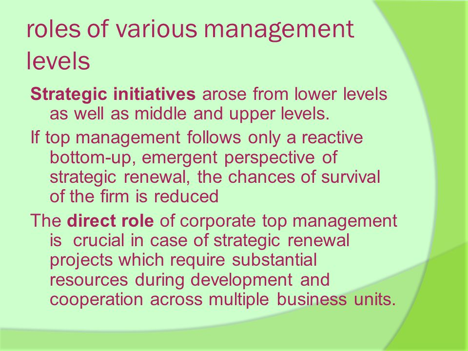 roles of various management levels Strategic initiatives arose from lower levels as well as middle and upper levels.