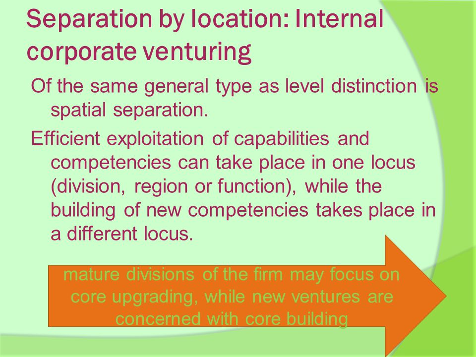 Separation by location: Internal corporate venturing Of the same general type as level distinction is spatial separation.