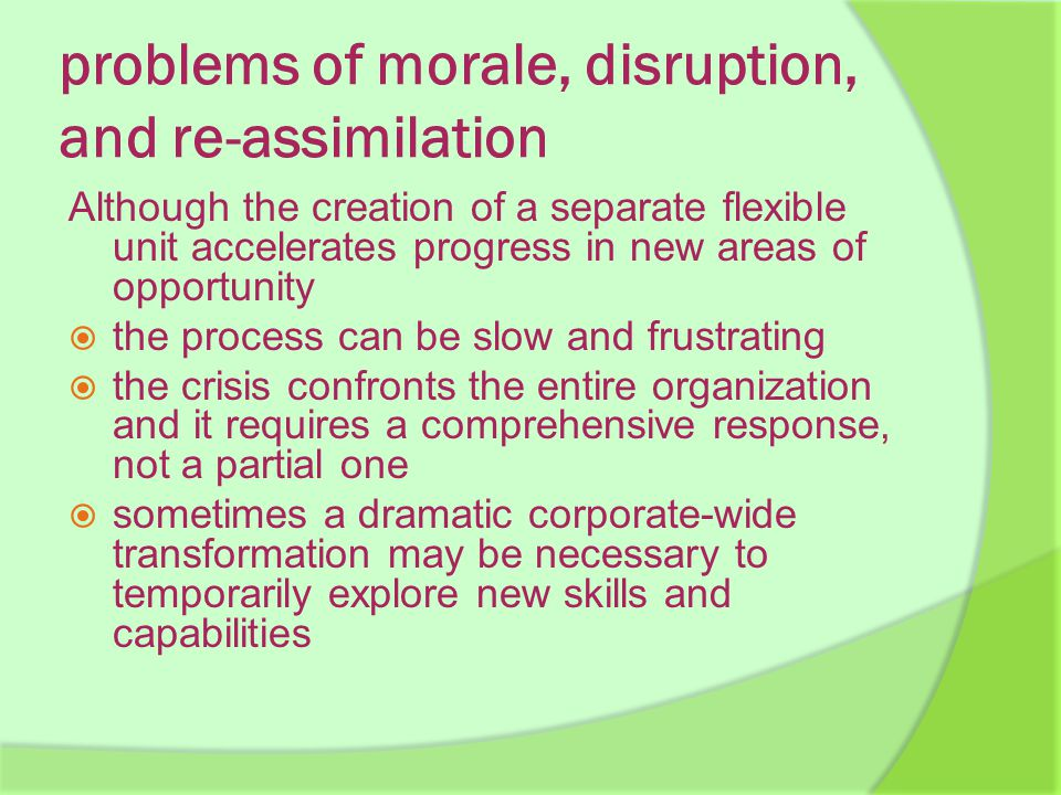 problems of morale, disruption, and re-assimilation Although the creation of a separate flexible unit accelerates progress in new areas of opportunity  the process can be slow and frustrating  the crisis confronts the entire organization and it requires a comprehensive response, not a partial one  sometimes a dramatic corporate-wide transformation may be necessary to temporarily explore new skills and capabilities