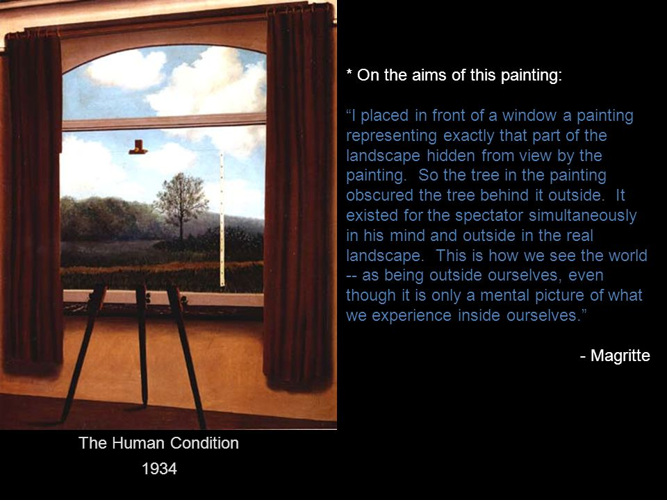 "The Human Condition 1934 * On the aims of this painting: ""I placed in front of a window a painting representing exactly that part of the landscape hid"
