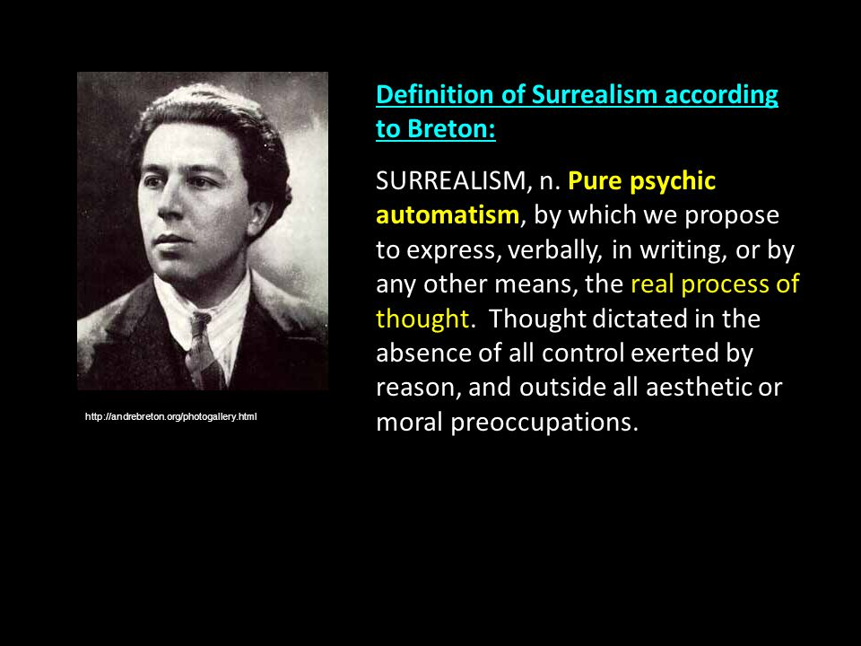 The Definition of Surrealism In French, Surrealism means 'above realism' or 'beyond reality' – in other words, 'more than real'.