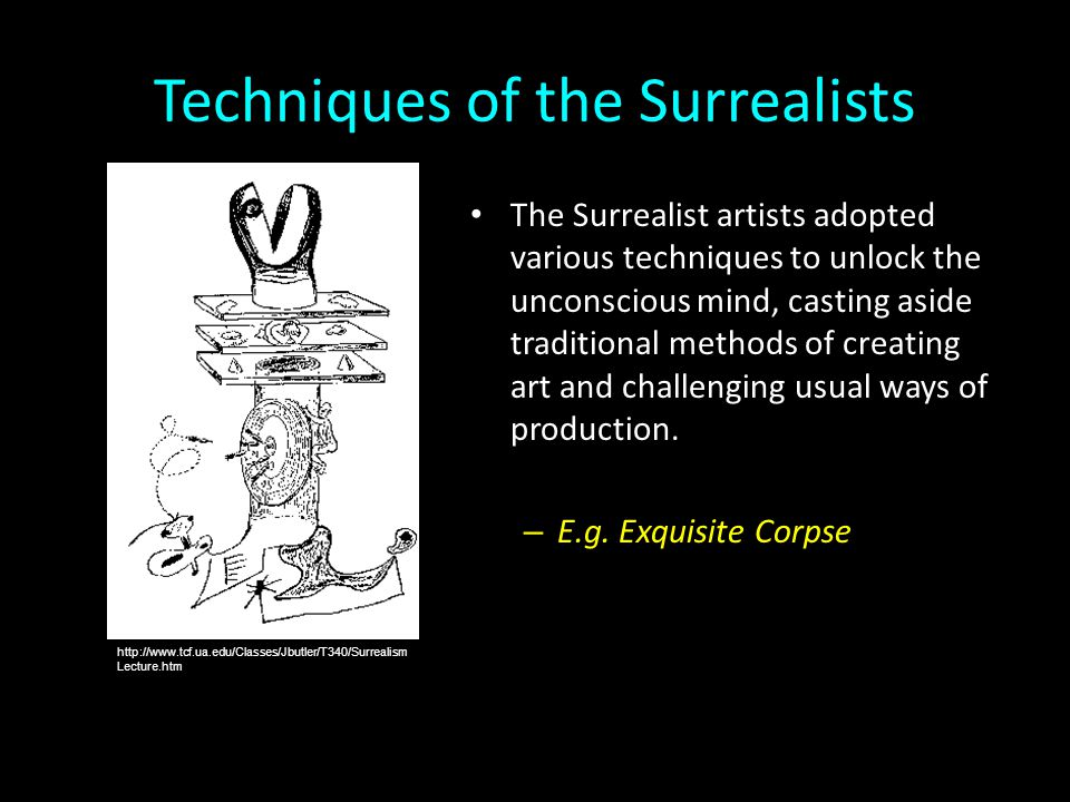 Techniques of the Surrealists The Surrealist artists adopted various techniques to unlock the unconscious mind, casting aside traditional methods of c