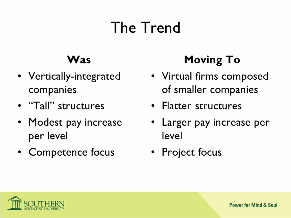 The Trend Was Vertically-integrated companies Tall structures Modest pay increase per level Competence focus Moving To Virtual firms composed of smaller companies Flatter structures Larger pay increase per level Project focus
