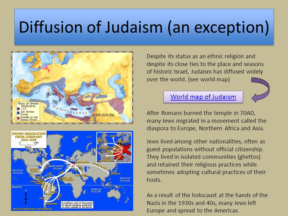 Diffusion of Judaism (an exception) World map of Judaism Despite its status as an ethnic religion and despite its close ties to the place and seasons
