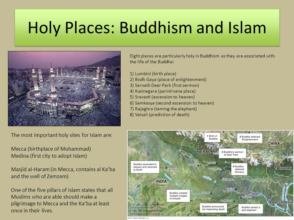 Holy Places: Buddhism and Islam The most important holy sites for Islam are: Mecca (birthplace of Muhammad) Medina (first city to adopt Islam) Masjid al-Haram (in Mecca, contains al Ka'ba and the well of Zemzem) One of the five pillars of Islam states that all Muslims who are able should make a pilgrimage to Mecca and the Ka'ba at least once in their lives.