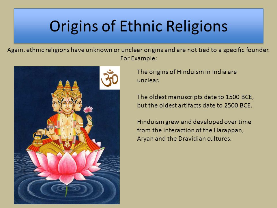 Diffusion of Religions Universalizing Religions Ethnic Religions Universalizing religions tend to diffuse from single, specific hearths and spread through a combination of relocation, hierarchical and contagious diffusion.