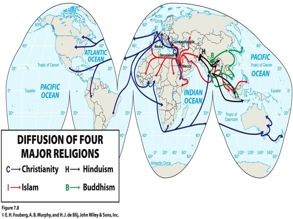 Diffusion of Judaism (an exception) World map of Judaism Despite its status as an ethnic religion and despite its close ties to the place and seasons of historic Israel, Judaism has diffused widely over the world.