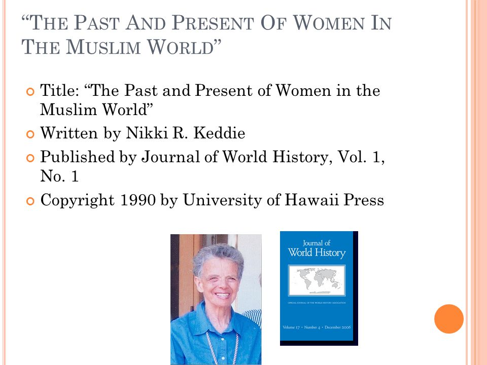 T HE P AST A ND P RESENT O F W OMEN I N T HE M USLIM W ORLD Title: The Past and Present of Women in the Muslim World Written by Nikki R.