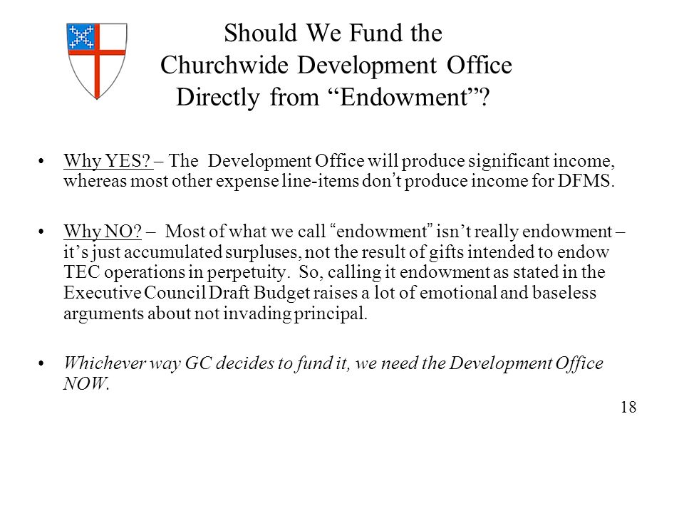 Should We Fund the Churchwide Development Office Directly from Endowment .