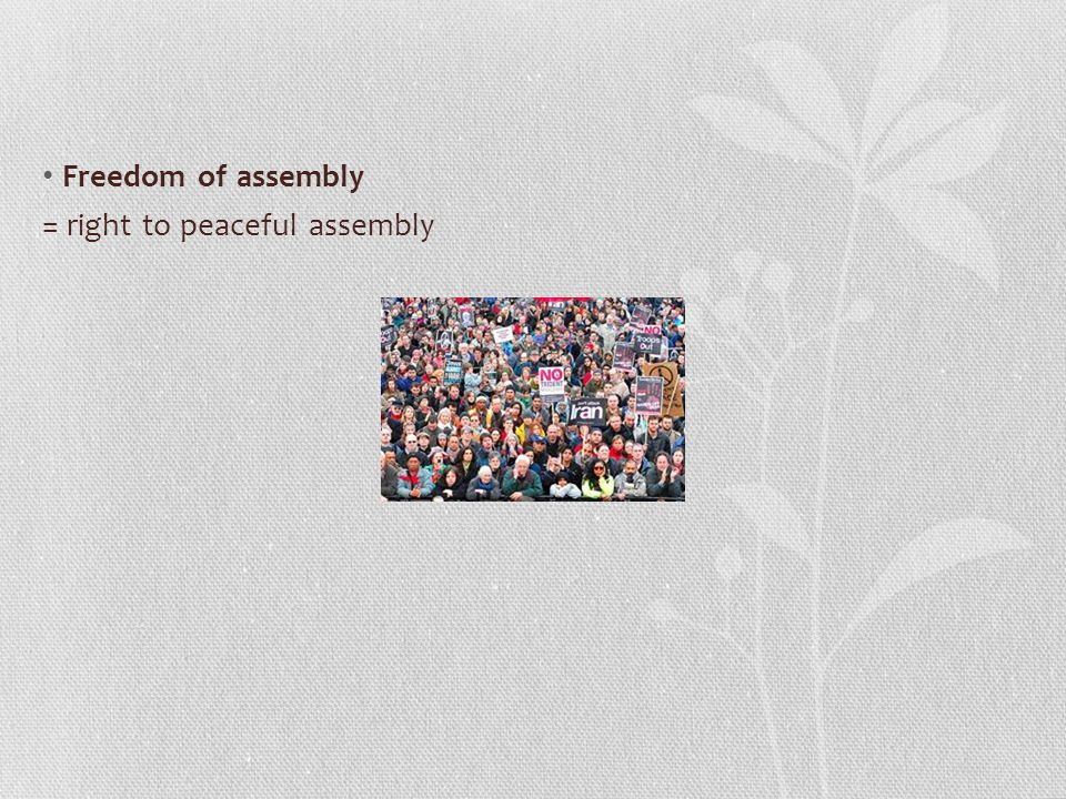 Freedom of assembly = right to peaceful assembly