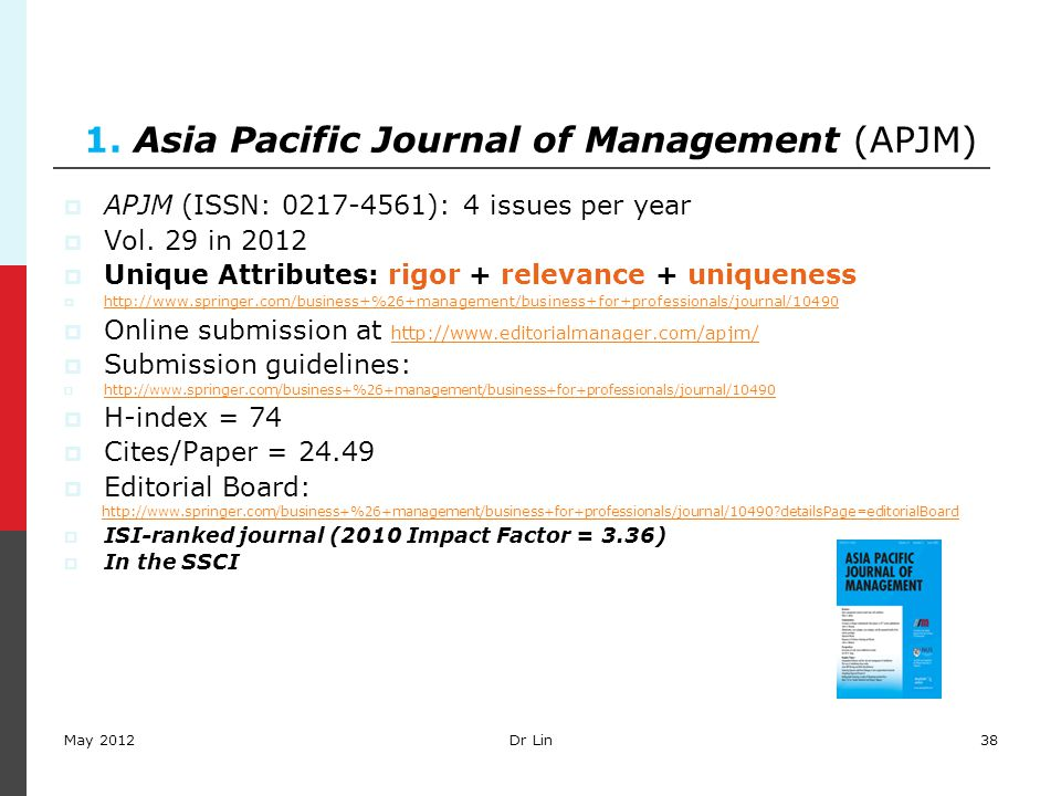 38 1. Asia Pacific Journal of Management (APJM)  APJM (ISSN: 0217-4561): 4 issues per year  Vol. 29 in 2012  Unique Attributes: rigor + relevance +