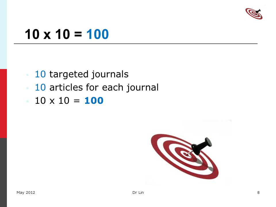 10 x 10 = 100  10 targeted journals  10 articles for each journal  10 x 10 = 100 May 2012Dr Lin8