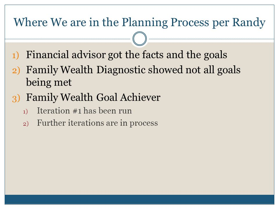 Where We are in the Planning Process per Randy 1) Financial advisor got the facts and the goals 2) Family Wealth Diagnostic showed not all goals being met 3) Family Wealth Goal Achiever 1) Iteration #1 has been run 2) Further iterations are in process