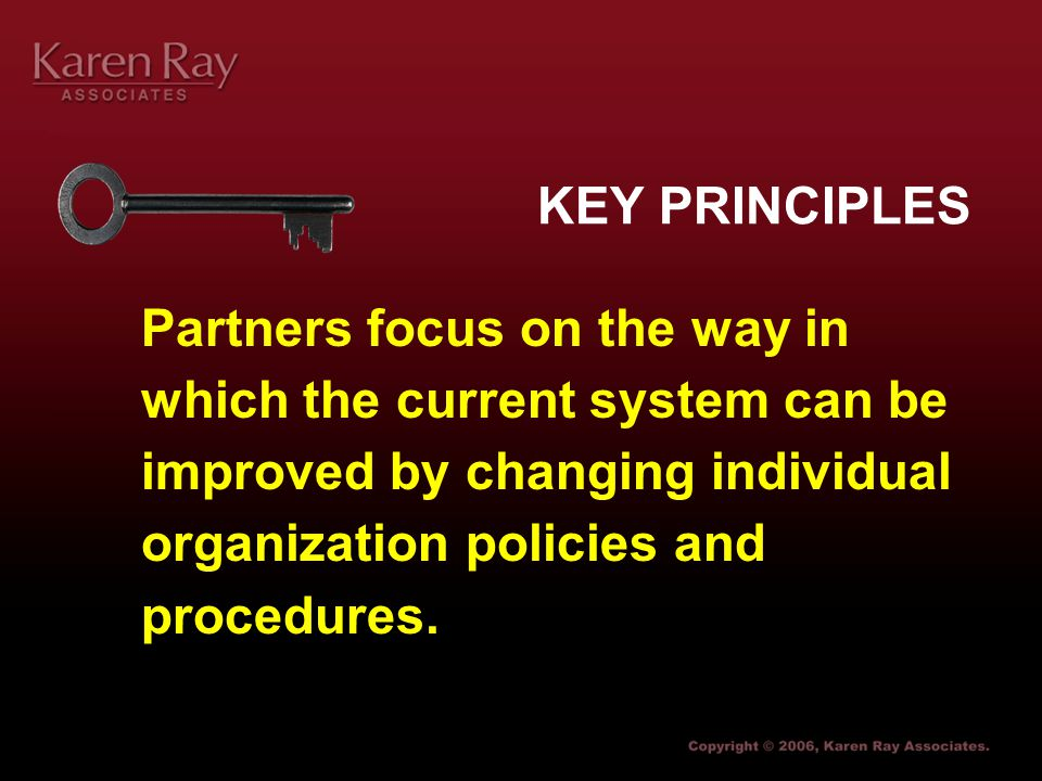 Karen Ray Associates Partners focus on the way in which the current system can be improved by changing individual organization policies and procedures.