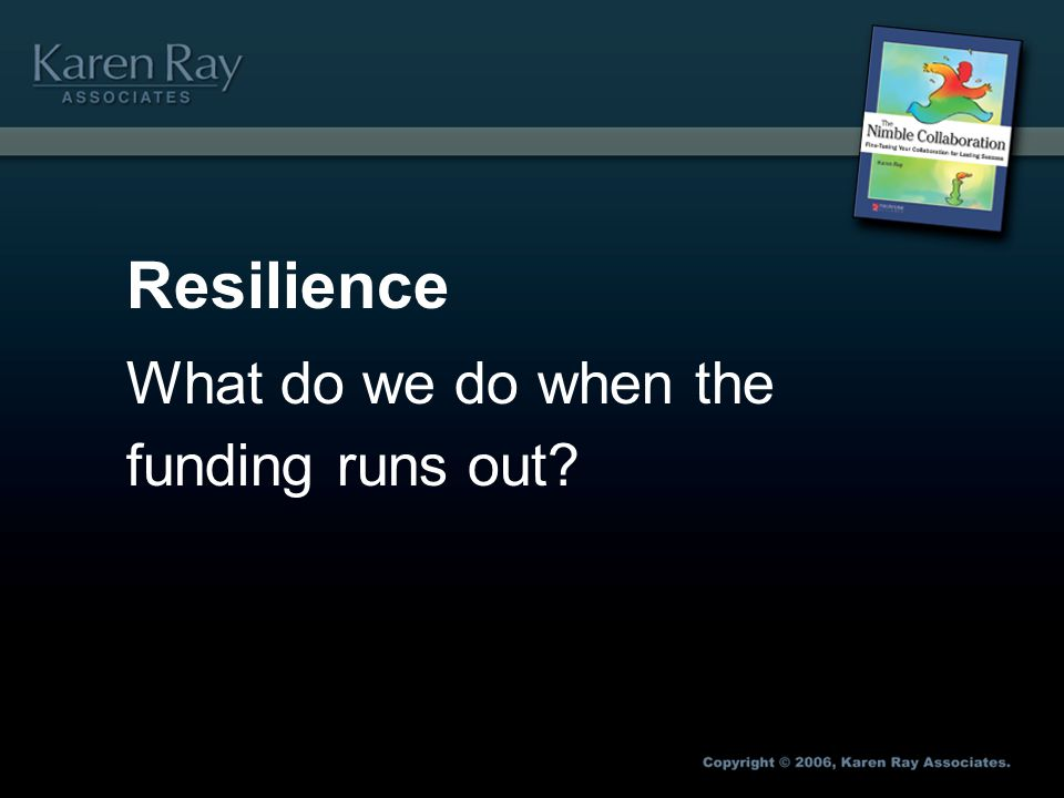 Resilience What do we do when the funding runs out?