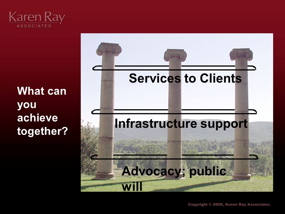 What can you achieve together Advocacy; public will Infrastructure support Services to Clients