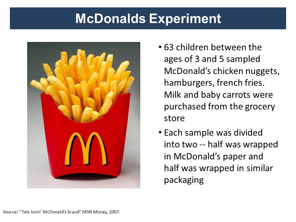 McDonalds Experiment Source: Tots lovin' McDonald's brand MSN Money, 2007.
