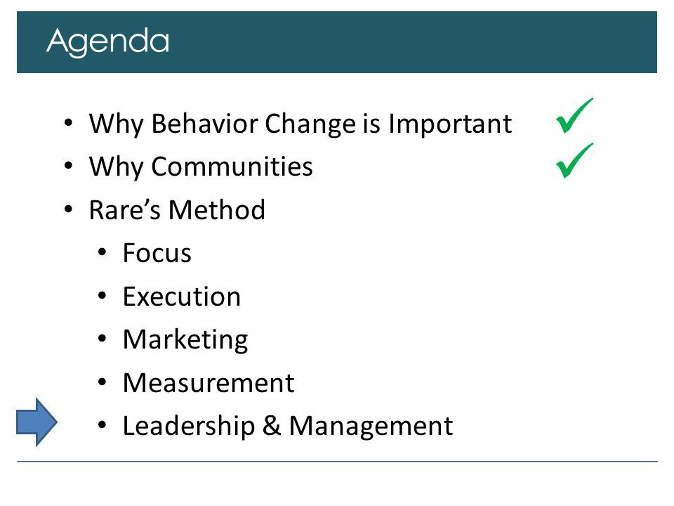 Agenda Why Behavior Change is Important Why Communities Rare's Method Focus Execution Marketing Measurement Leadership & Management