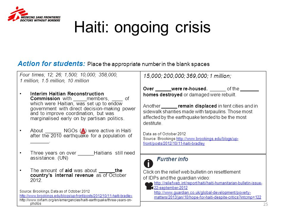 Haiti: ongoing crisis 25 Further info Click on the relief web bulletin on resettlement of IDPs and the guardian video: http://reliefweb.int/report/hai