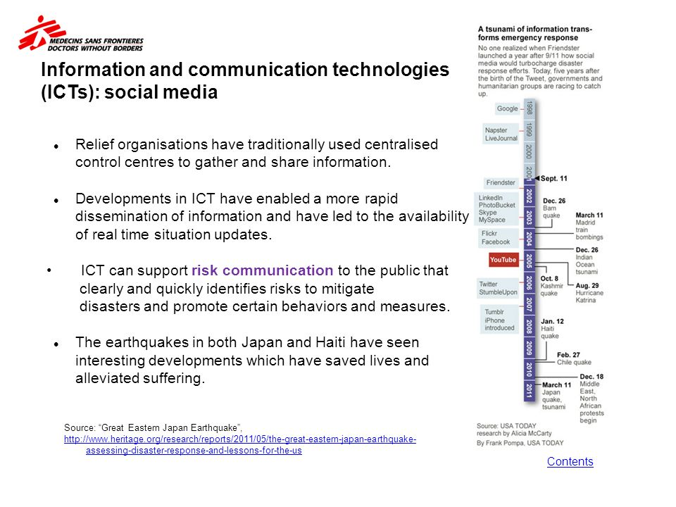 Information and communication technologies (ICTs): social media Contents Relief organisations have traditionally used centralised control centres to g