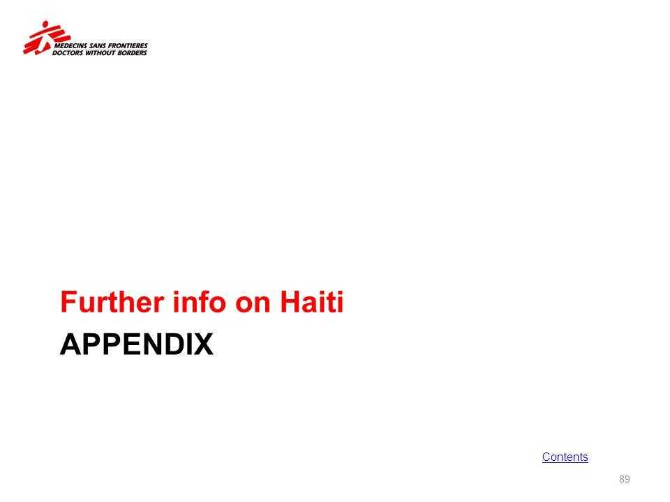 APPENDIX Further info on Haiti 89 Contents