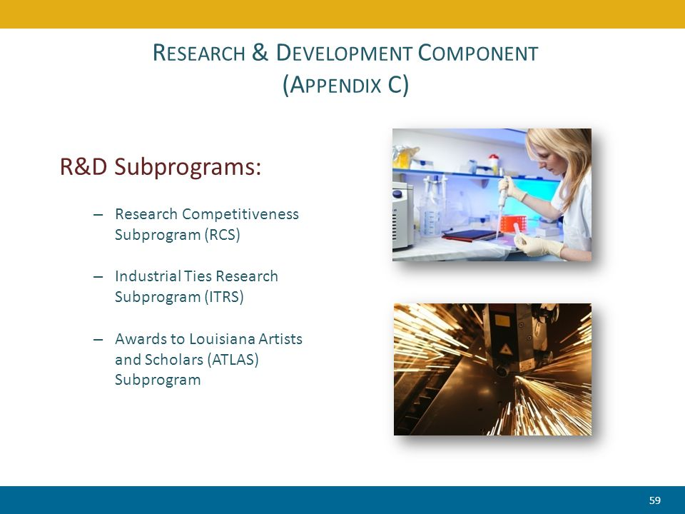 R ESEARCH & D EVELOPMENT C OMPONENT (A PPENDIX C) R&D Subprograms: – Research Competitiveness Subprogram (RCS) – Industrial Ties Research Subprogram (ITRS) – Awards to Louisiana Artists and Scholars (ATLAS) Subprogram 59