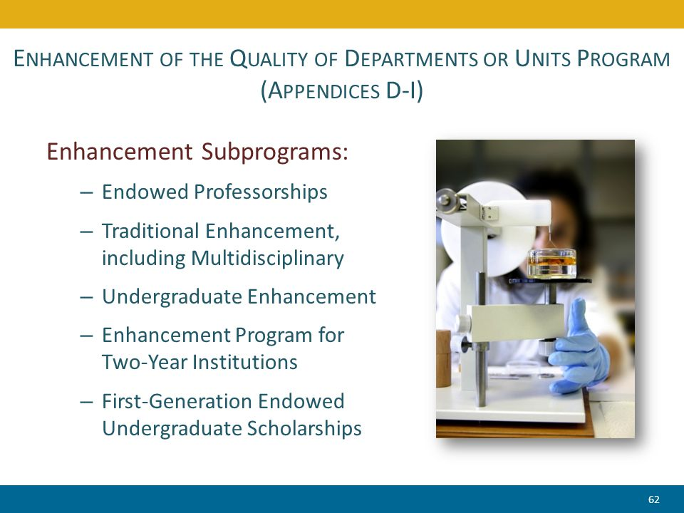 E NHANCEMENT OF THE Q UALITY OF D EPARTMENTS OR U NITS P ROGRAM (A PPENDICES D-I) Enhancement Subprograms: – Endowed Professorships – Traditional Enhancement, including Multidisciplinary – Undergraduate Enhancement – Enhancement Program for Two-Year Institutions – First-Generation Endowed Undergraduate Scholarships 62