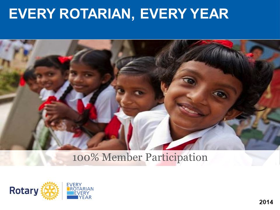 2014 EVERY ROTARIAN, EVERY YEAR 100% Member Participation
