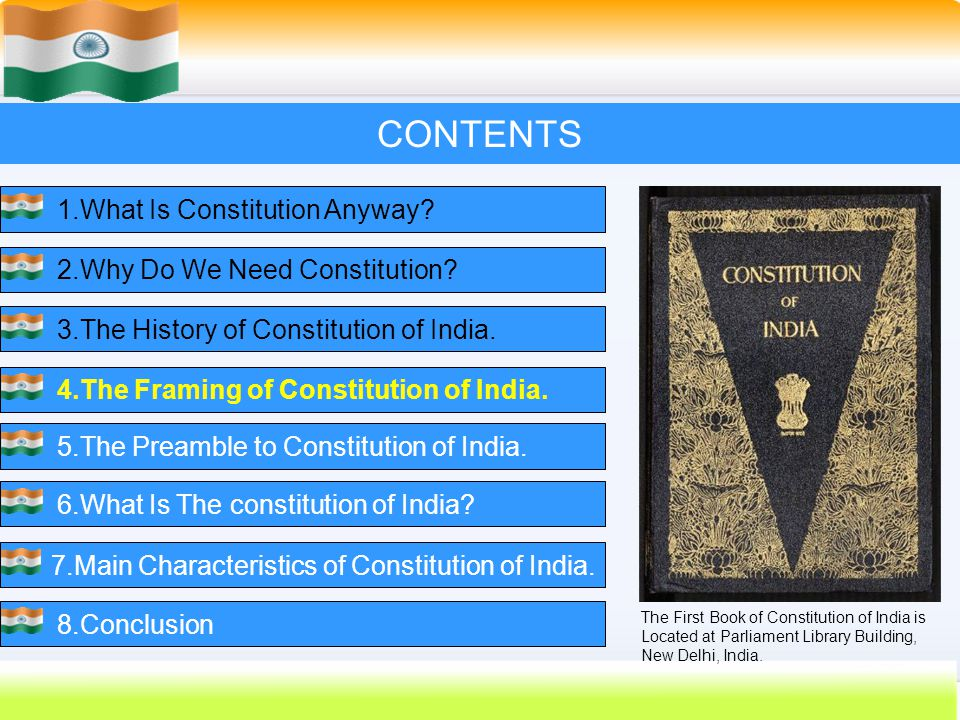 25 CONTENTS 1.What Is Constitution Anyway?2.Why Do We Need Constitution?3.The History of Constitution of India.4.The Framing of Constitution of India.