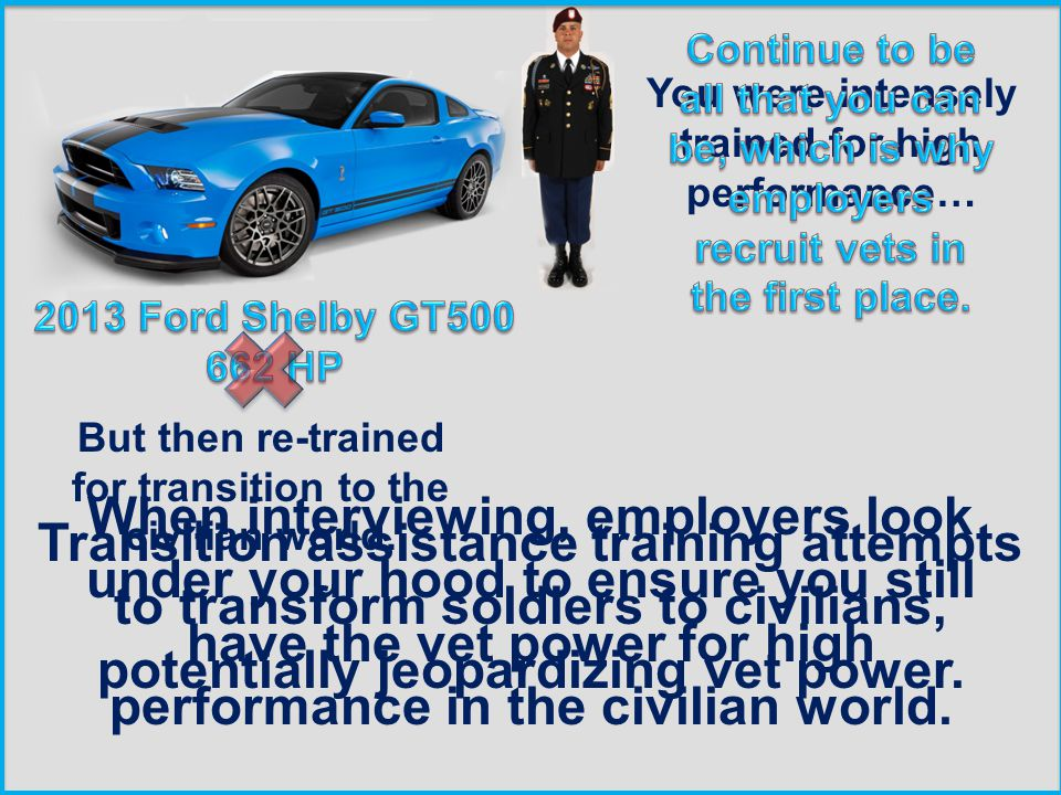 You were intensely trained for high performance… But then re-trained for transition to the civilian world.