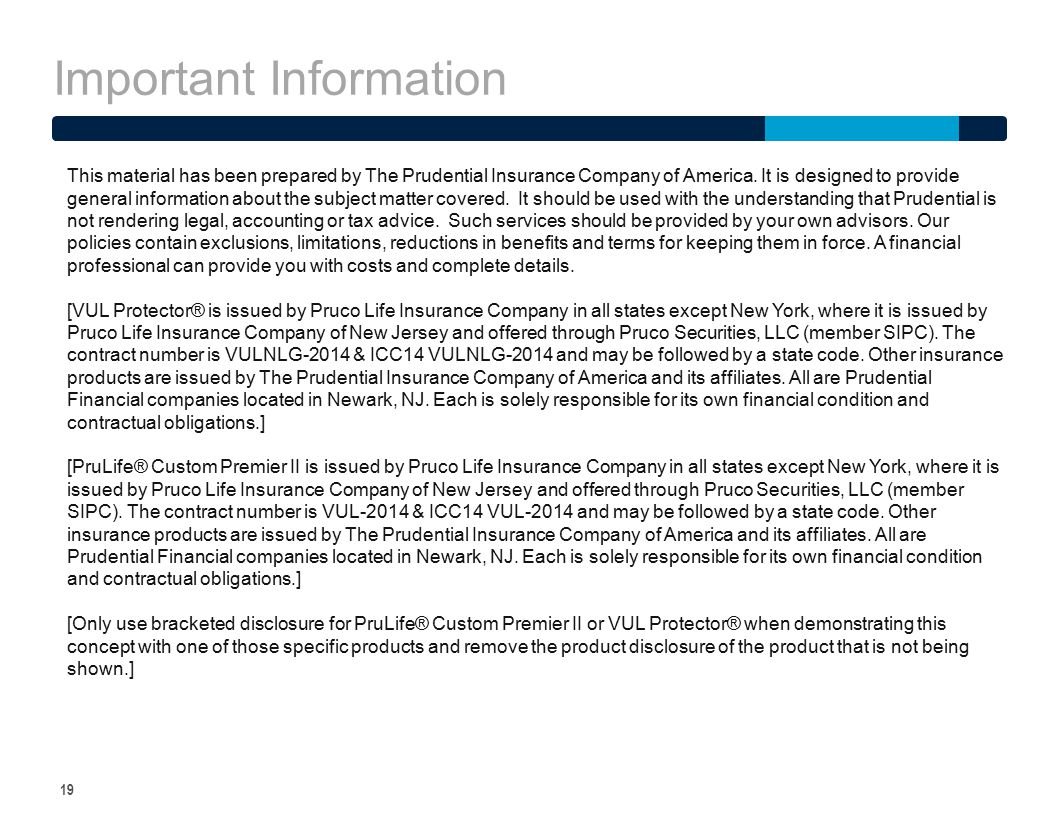 Important Information 19 This material has been prepared by The Prudential Insurance Company of America. It is designed to provide general information