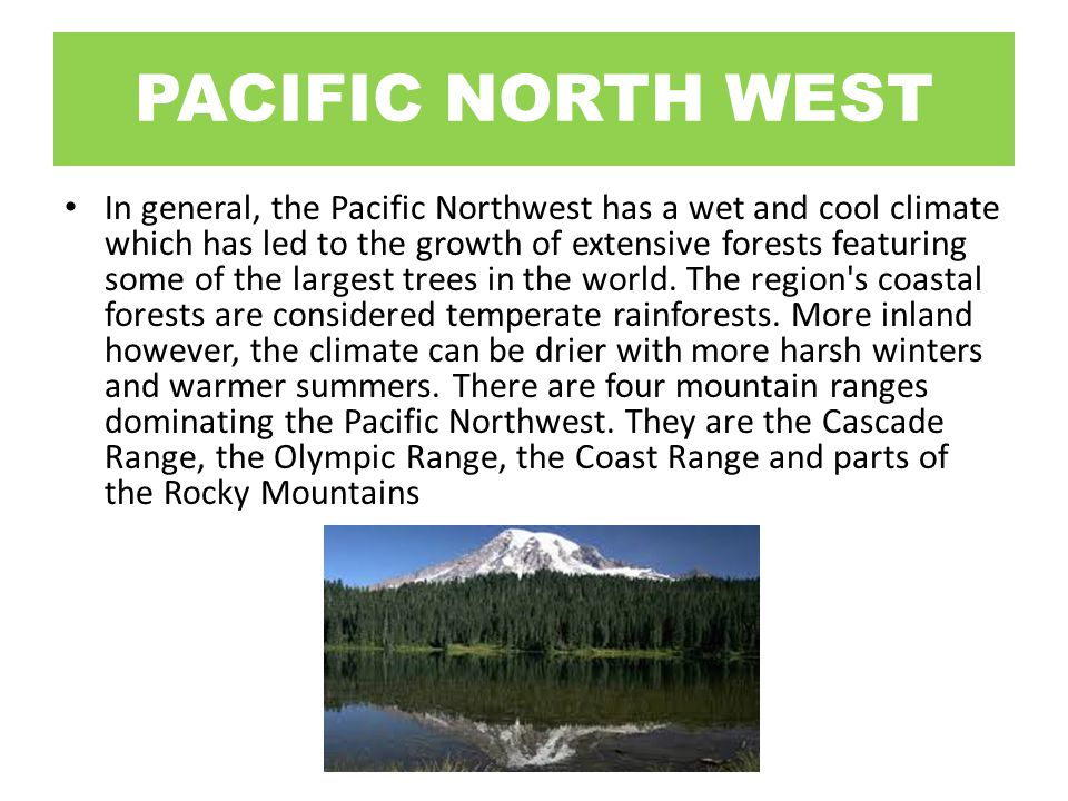 PACIFIC NORTH WEST In general, the Pacific Northwest has a wet and cool climate which has led to the growth of extensive forests featuring some of the largest trees in the world.