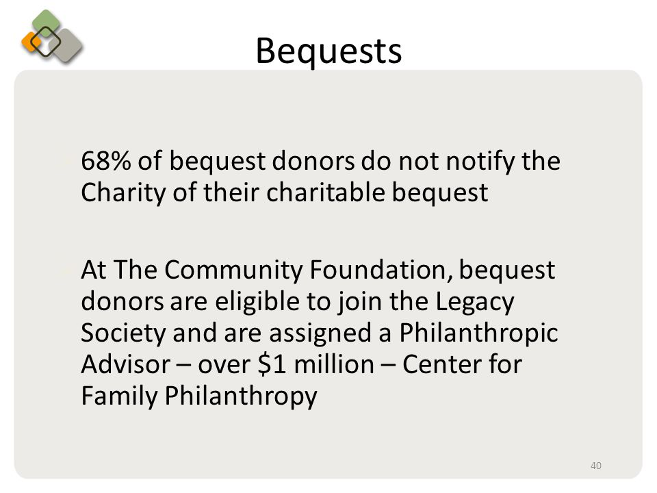 Bullet information here Bequests  68% of bequest donors do not notify the Charity of their charitable bequest  At The Community Foundation, bequest donors are eligible to join the Legacy Society and are assigned a Philanthropic Advisor – over $1 million – Center for Family Philanthropy 40