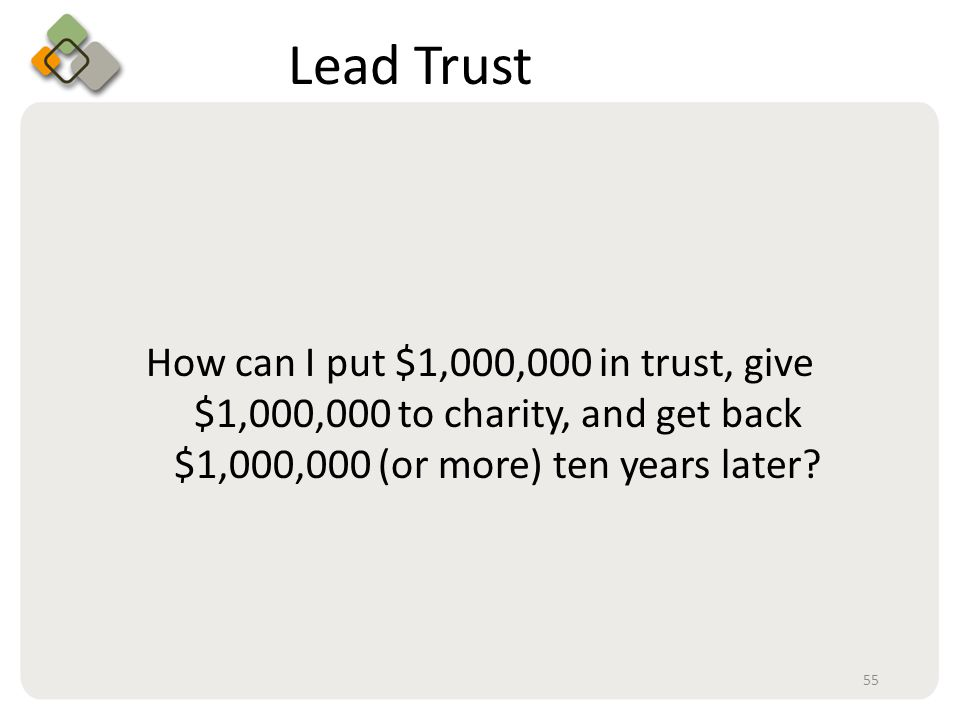 Bullet information here Lead Trust How can I put $1,000,000 in trust, give $1,000,000 to charity, and get back $1,000,000 (or more) ten years later.