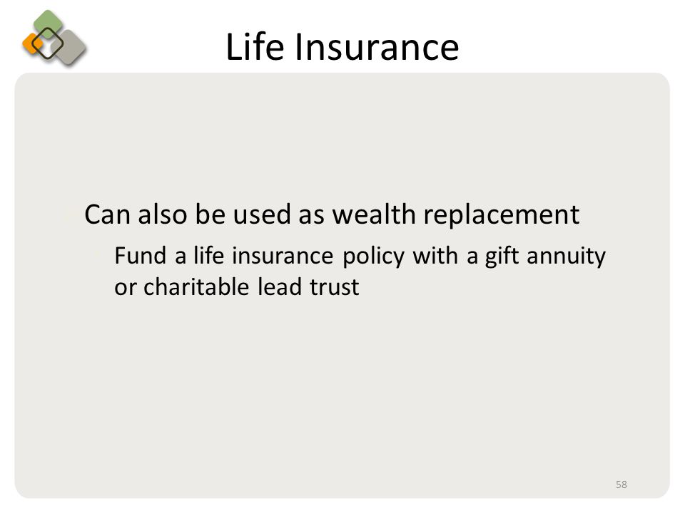 Bullet information here Life Insurance  Can also be used as wealth replacement Fund a life insurance policy with a gift annuity or charitable lead trust 58