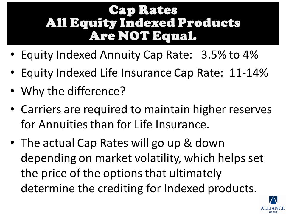 Equity Indexed Annuity Cap Rate: 3.5% to 4% Equity Indexed Life Insurance Cap Rate: 11-14% Why the difference.