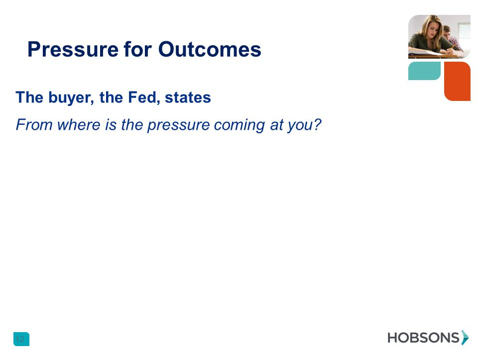 Pressure for Outcomes 12 The buyer, the Fed, states From where is the pressure coming at you