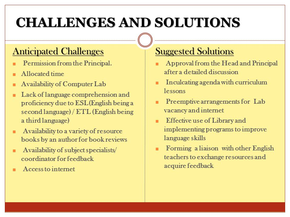 CHALLENGES AND SOLUTIONS CHALLENGES AND SOLUTIONS Anticipated Challenges ■ Permission from the Principal.