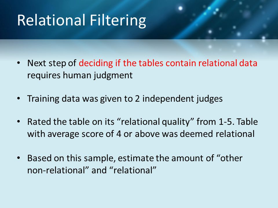 Relational Filtering Next step of deciding if the tables contain relational data requires human judgment Training data was given to 2 independent judg