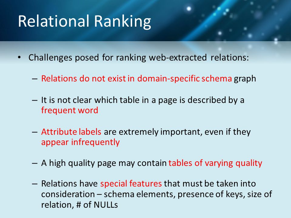 Relational Ranking Challenges posed for ranking web-extracted relations: – Relations do not exist in domain-specific schema graph – It is not clear wh