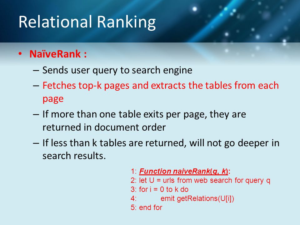 Relational Ranking NaïveRank : – Sends user query to search engine – Fetches top-k pages and extracts the tables from each page – If more than one tab